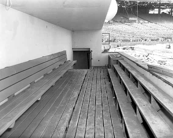 The home team dugout (first base side) during construction (Source: MNHS)