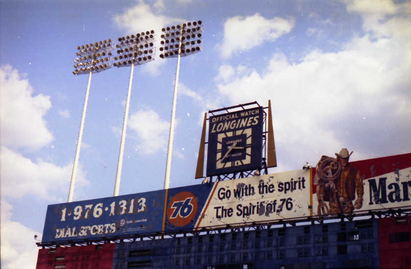 Abandoned: The scoreboard and famous clock (Source: Robin Hanson)